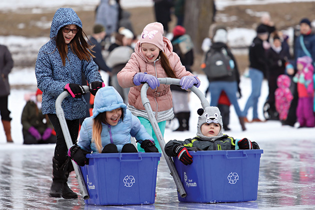 Recycling bin races  at Plymouth's Fire & Ice Festival