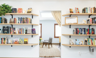 A shot of the bookshelves at Cream & Amber, Hopkins' new book/beer/coffee shop.