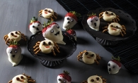 A variety of healthy Halloween treats.