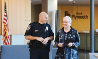 Plymouth police chief Michael Goldstein and  Cynthia Arkema-O'Harra of Criminal Justice Behavior Initiatives and Chemical Health for Hennepin County.