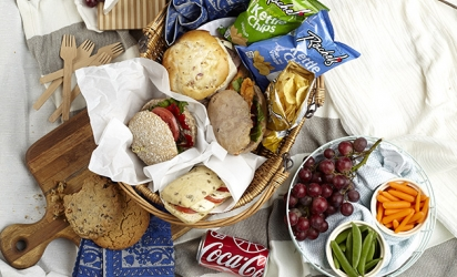 A fully stocked picnic basket.