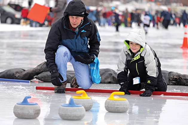 Curling demonstrations at Plymouth's Fire & Ice Festival