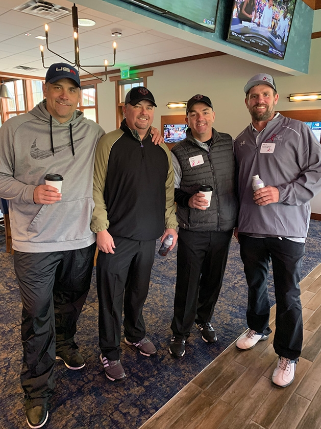 Golfers Pat Elmes, Chad Vukich, Tony Bayer, Paul Gallagher at Play for PINK