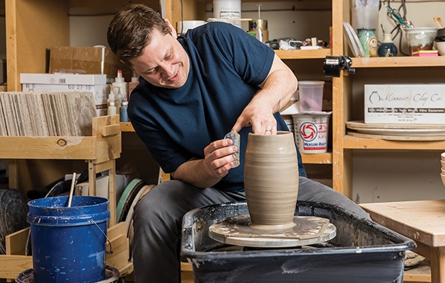 potter at the pottery wheel