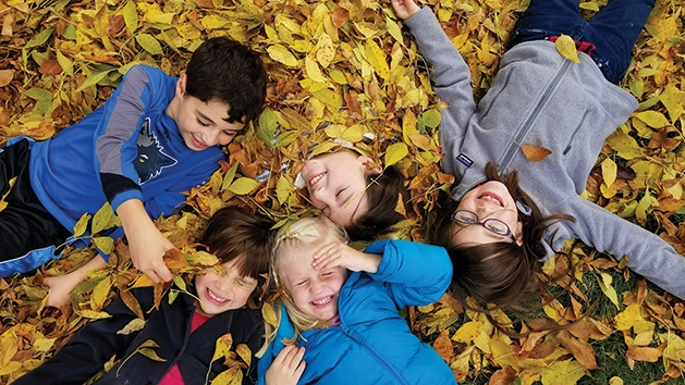 Five children play in a pile of leaves in this Picture Plymouth photo contest winner.