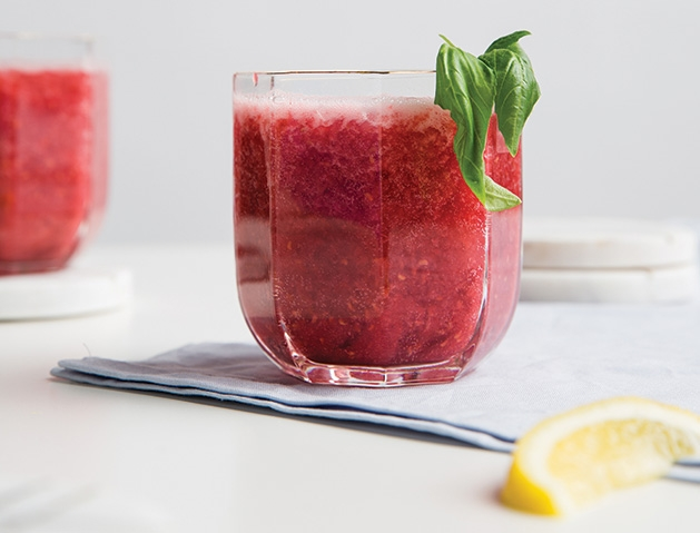Sparkling strawberry basil gin cocktail