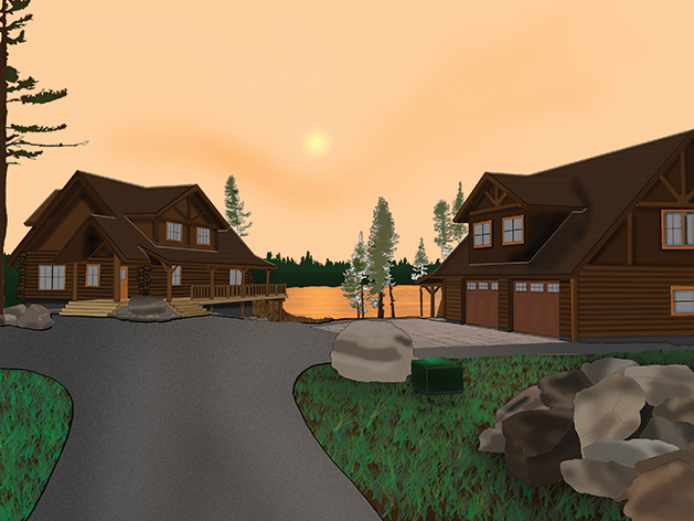 """""""Cul de Sac,"""" a digital painting of two cabins by Wayzata High School student Billy Haile Riviere."""