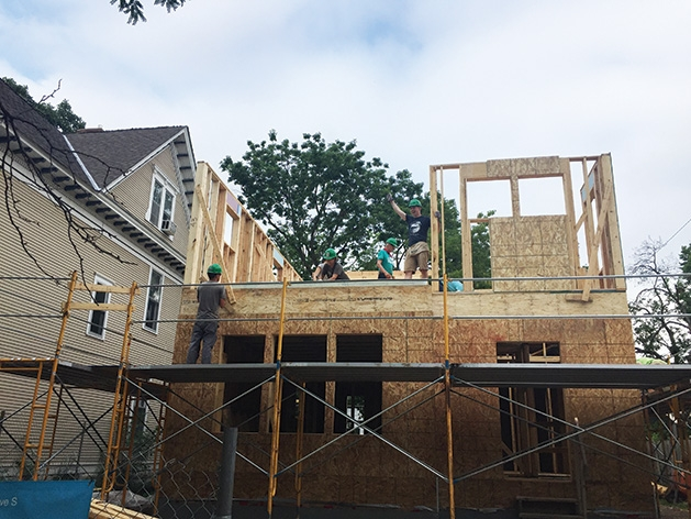 Volunteers from Mount Olivet Lutheran Church of Plymouth and Habitat for Humanity build a home in South Minneapolis.