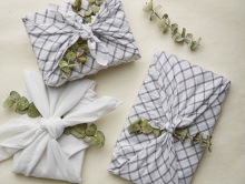 Gifts wrapped in the furoshiki method.