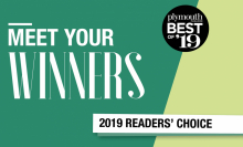 "A graphic that reads ""Meet Your Winners, Plymouth Magazine Best of '19 Readers' Choice"""