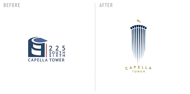 The Capella Tower logo, before and after a redesign by Sussner Design Company
