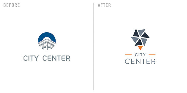 The City Center logo, before and after a redesign by Sussner Design Company