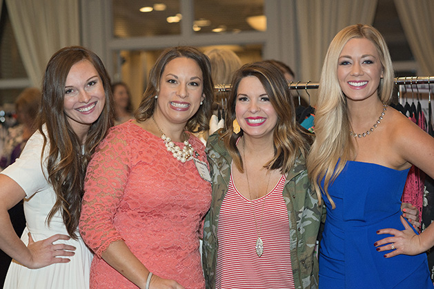 Interfaith Outreach Girls Glamour & Giving event (l to r) 2016 co-chairs, Zoe Swanson and Anna Lima, Melissa Hardin and Carly Aplin Zucker, emcee.